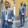 (Куртка + Брюки) горячие Продажи Голубой Смокинги Groom мужские Костюмы 2 Шт. Свадебный Костюм Жених Костюмы На Заказ Мужчины Blazer