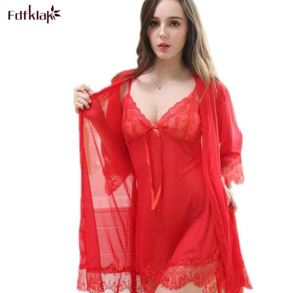 2017 Neue Sexy Robe Und Kleid Set Femme Nachtwäsche Robe Und Kleid Abendkleid Robe Frauen Nachtwäsche Schwarz Dessous Mini Nachthemd Angemessener Preis