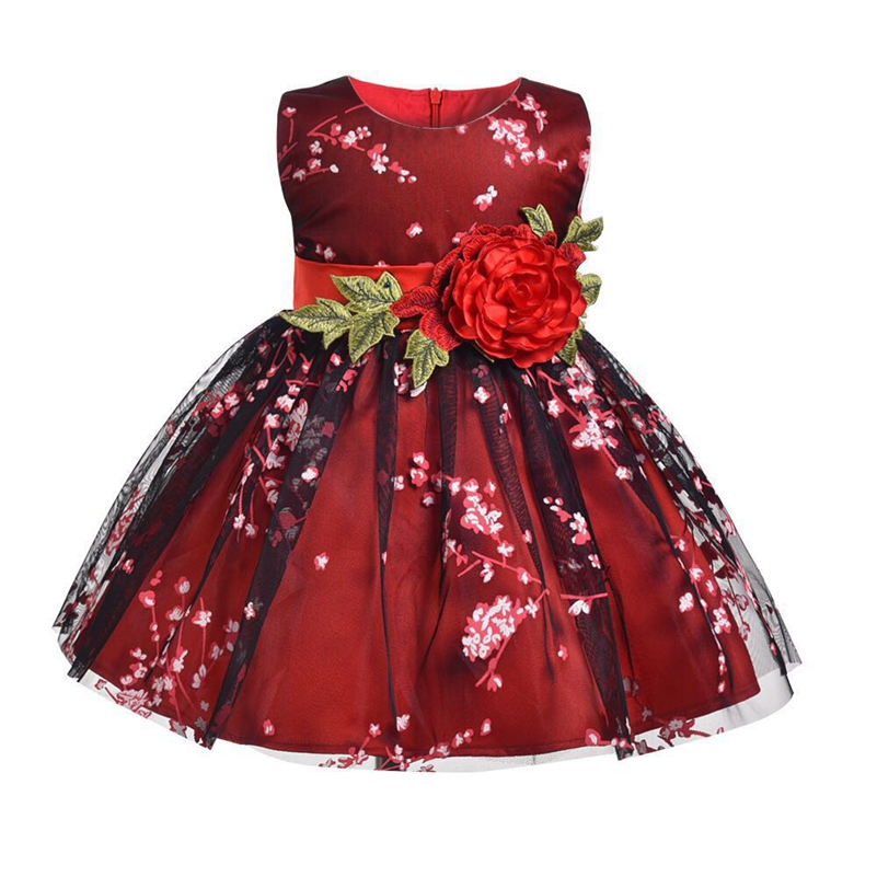 7d3ac9bc441e Baby Girl Clothes For Wedding Kids Girl Happy Birthday Party Dress Princess  Formal Clothes Little Girl Floral Back V Dress-in Dresses from Mother    Kids on ...