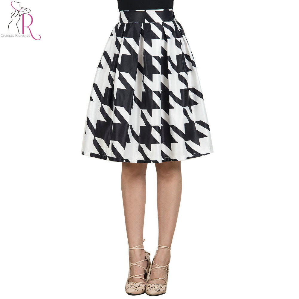 white black color block houndstooth midi pleated skirt a
