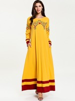 M 4XL Women Fashion Contrasting Color Panel Floral Embroidered Long Sleeve Arab Dress Muslim Dubai Spring Autumn Yellow Dresses