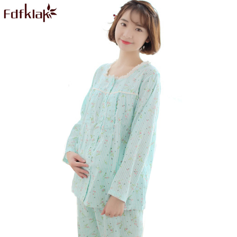 Fdfklak Spring Autumn Cotton Pregnant Pajamas Maternity Nightwear Nursing Pajamas Long Sleeve For Lactating Moms Clothes F166