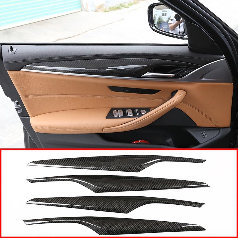 Bmw 新 5 シリーズ G30 G38 2017 2018 リアルカーボン繊維 4 個の車のインテリアドア装飾パネルカバートリムアクセサリー