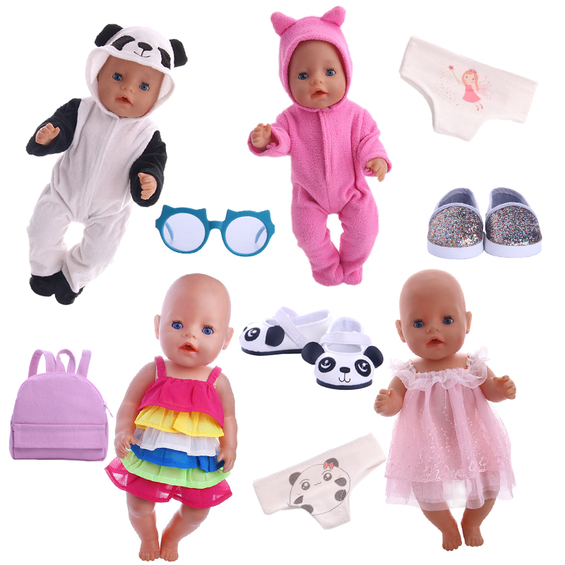 New doll Accessories Panda Suit for 18-inch American Doll or 43 cm Baby Doll the Best Gift for Children