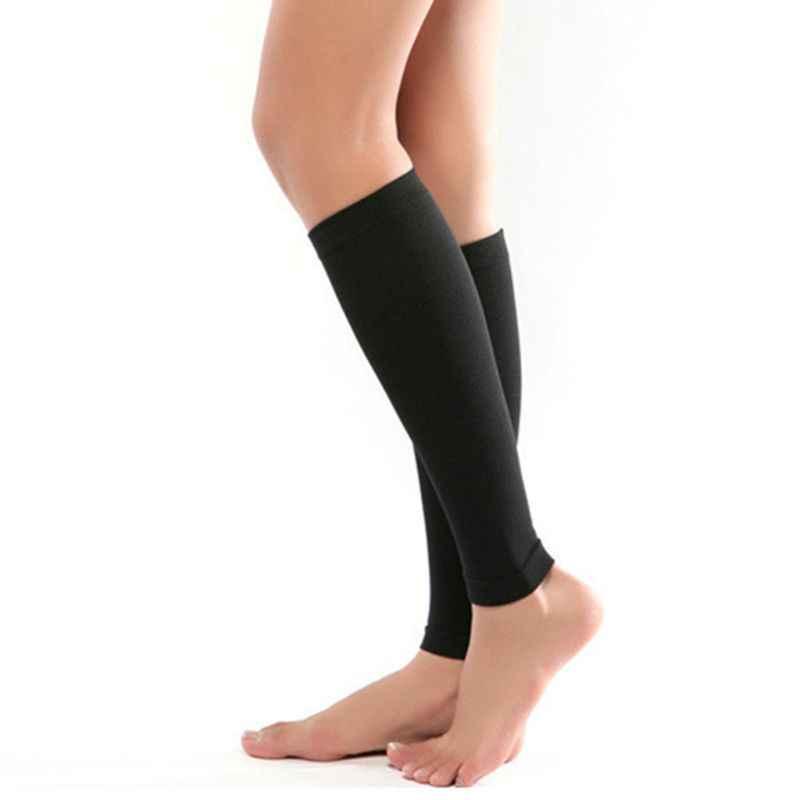 1 คู่ Unisex ขาลูกวัว 680D การบีบอัดเส้นเลือดขอดการไหลเวียนโลหิตทางการแพทย์ยืดหยุ่นถุงเท้าบรรเทาปวดบาง