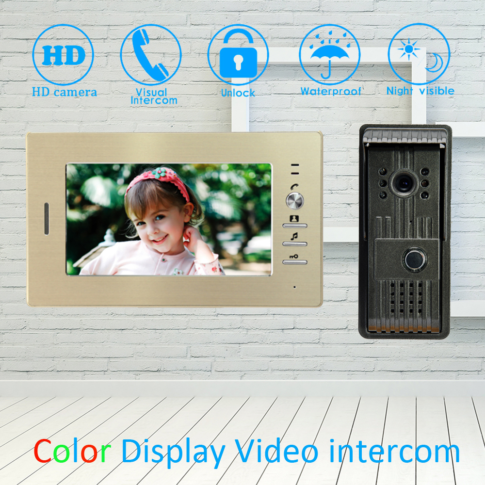 (1 Set) Golden Color 7 inch Video Door Phone Home improvement Device Aluminium surface Visitor Device Wire Doorbell HD camera(1 Set) Golden Color 7 inch Video Door Phone Home improvement Device Aluminium surface Visitor Device Wire Doorbell HD camera