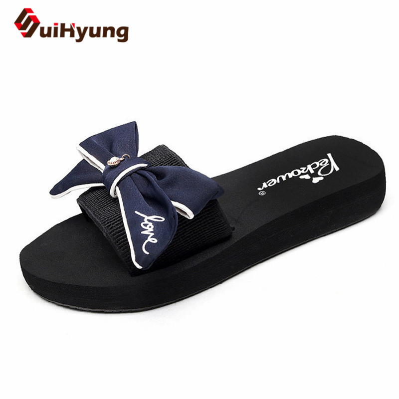 Suihyung New Summer Flat Slippers Women Comfortable Non-slip Bowknot Pearls Flip Flops Female Beautiful Beach Slippers Sandals suihyung design new women and men summer flat shoes hit color breathable hollow beach slippers flips non slip unisex sandals