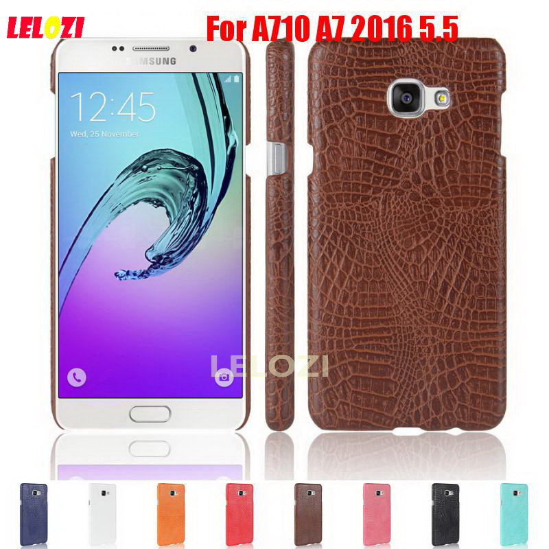 LELOZI Crocodile Snake Pattern Hard PC PU Leather Leathe Phone Phon Etui Coque Case Cover For Samsung Galaxy A710 A7 2016 5.5