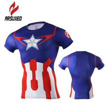 Arsuxeo Compression Shirt Anime 2017 Superhero Punisher Captain America Superman 3D T Shirt Fitness Tights Base Layer T Shirts