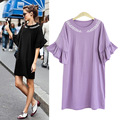 XL- 5XL 2017 Fashion Plus size Women Korean Butterfly Sleeve Summer Dress Loose Straight Dresses Solid Black Grey Purple