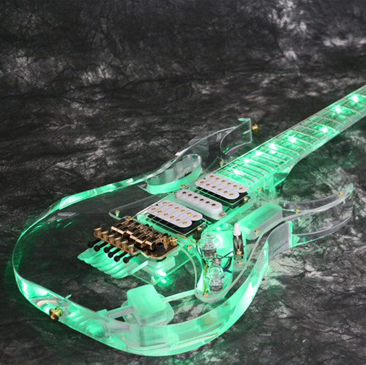 Free Shipping Nstock Starshine SR-LBC-033 Colorful Crystal Electric Guitar Green LED Light Body And Neck Full Acrylic Body Neck