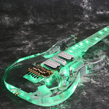 Free shopping nstock Starshine SR-LBC-033 colorful crystal electric guitar green led light body and neck full acrylic