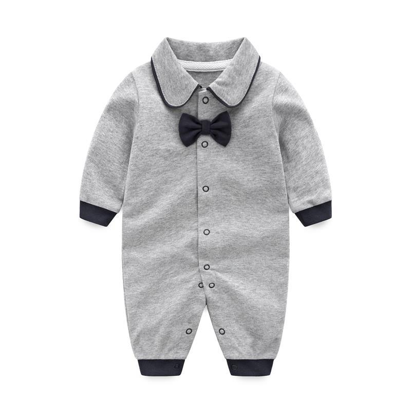 2019 Spring Gentlemen Tie Baby Uniform Clothes Long Sleeve baby bpy   rompers   unisex baby clothes Newborn Jumpsuit Cheap-clothes
