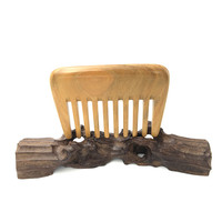 L K919 Natural Green Sandalwood Boutique Wide Toothed Comb Portable Comb Brush Massage Hair Brush Hair