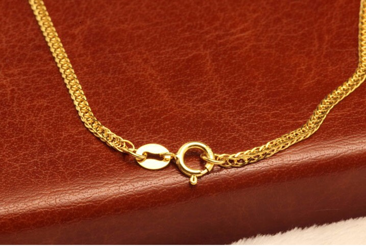 Solid Yellow Gold Necklace / Men&Women Perfect Wheat Link Chain/ 1.7g