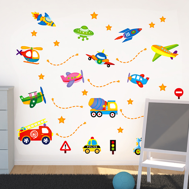 Car Truck spaceship aircraft wall stickers children\'s room baby room ...