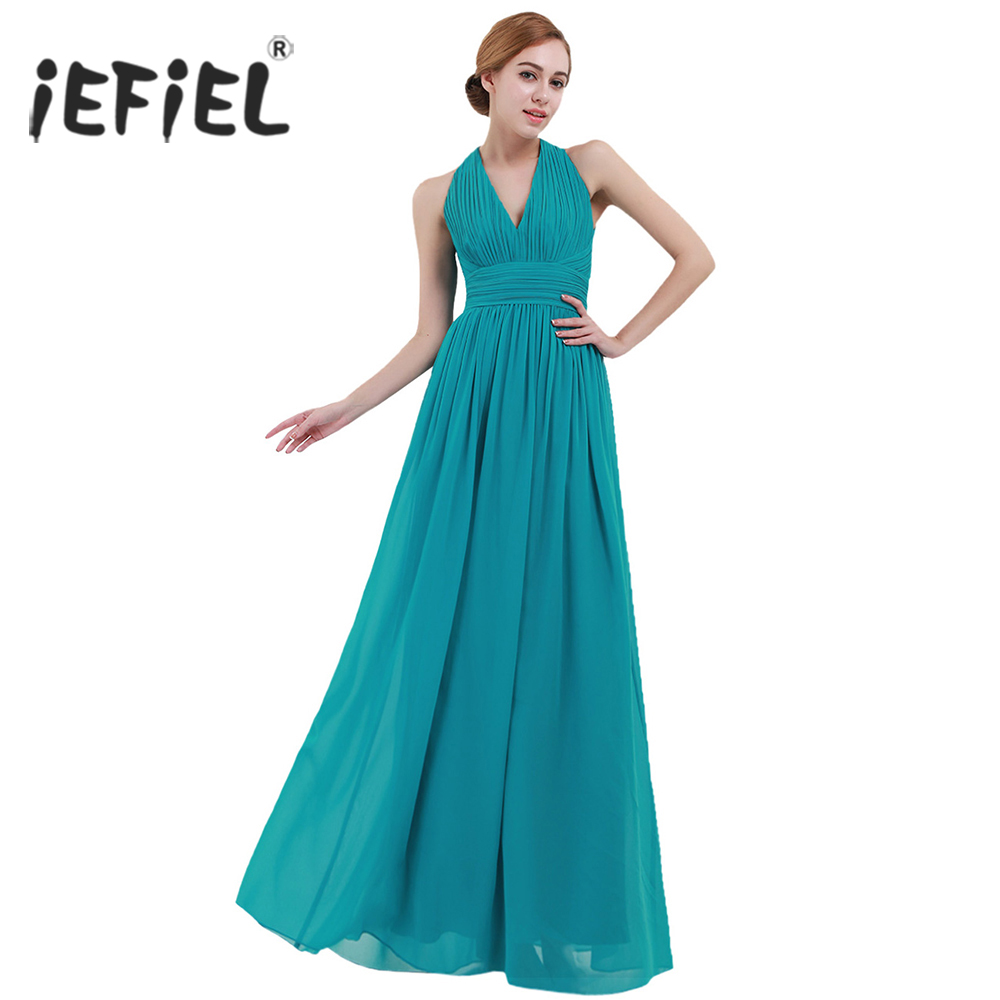 iEFiEL Hot Women Formal Party Dresses V Neck Sleeve Long Dress 2017 ...