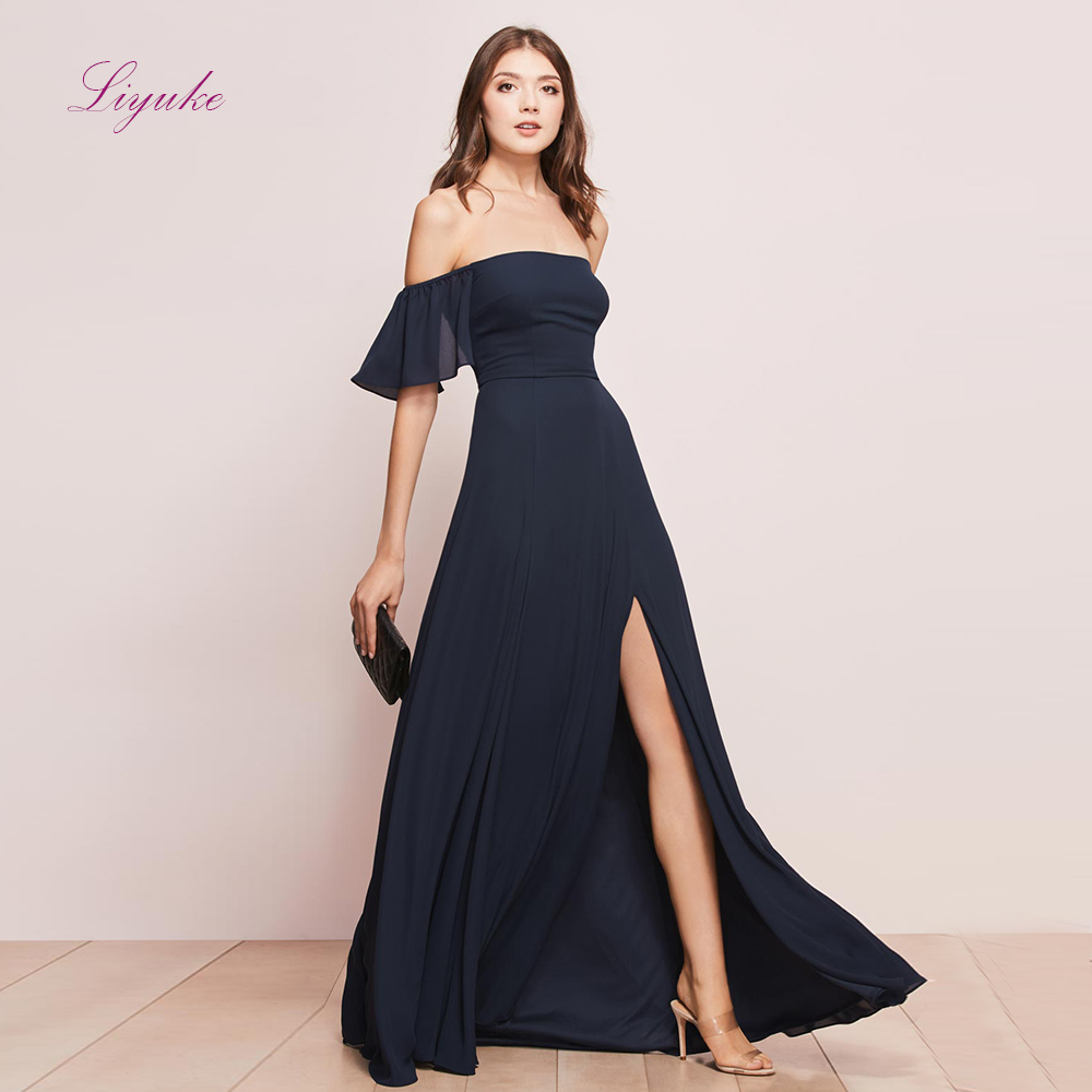 Liyuke A line   Bridesmaid     Dress   Chiffon Long   Dress   Splited Off-the-shoulder Customized Free Shipping