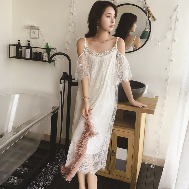Lisacmvpnel Elegant Long Section Women Nightgown Solid Spaghetti Strap Lace Female Nightdress