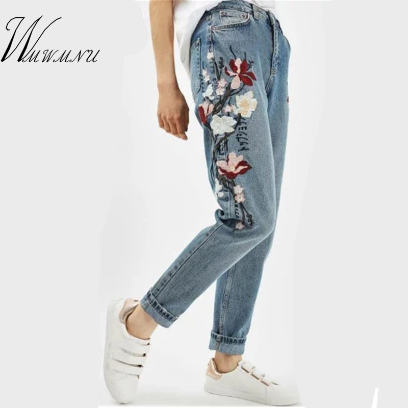 Wmwmnu Flower embroidery jeans female Light blue casual pants capris 2017 Spring new Pockets straight jeans women bottom F180 flower embroidery jeans female light blue casual pants capris 2017 spring autumn pockets straight jeans women bottom