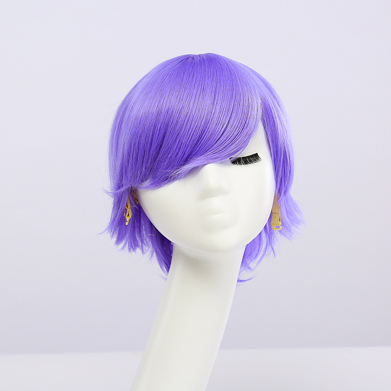 Fahion Cheap Synthetic Short Mens Wig White Purple Blue Yellow Black Silver Grey Green Red Anime Cosplay Wigs For Party 30cm