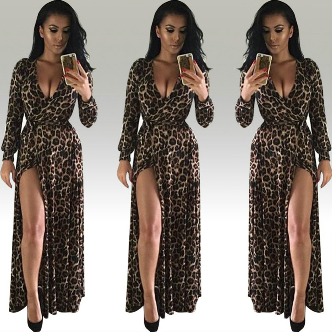 YJ Fashion High Slit Boho Maxi Dress Women Leopard Printed Sexy 2017 Summer Dress Deep V Neck Long Sleeve Elegant Party Dresses in Dresses from Women 39 s Clothing