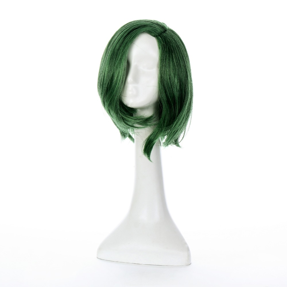 Short Bob Lace Front Wig Synthetic The Gifted Straight Ombre Color Ladys Wigs for Women Dark Green 2 Tones Cosplay Lorna Dane