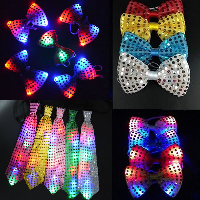 Nuevo 10 unids / lote Flashing Light Up Bow Tie Corbata LED Mujer Hombre Partido Luz Lentejuelas Tie Wedding Decoration Halloween