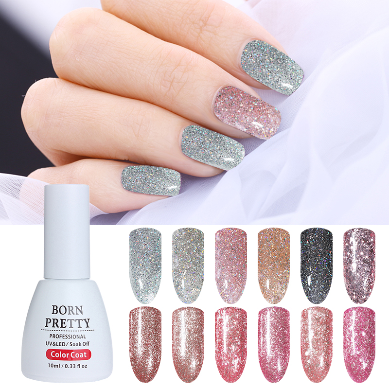 BORN PRETTY Platinum Starry Gel Esmalte de uñas Bling Glitter Lentejuelas UV Gel Soak Off Gel de uñas de larga duración Nail Art Tips Manicure