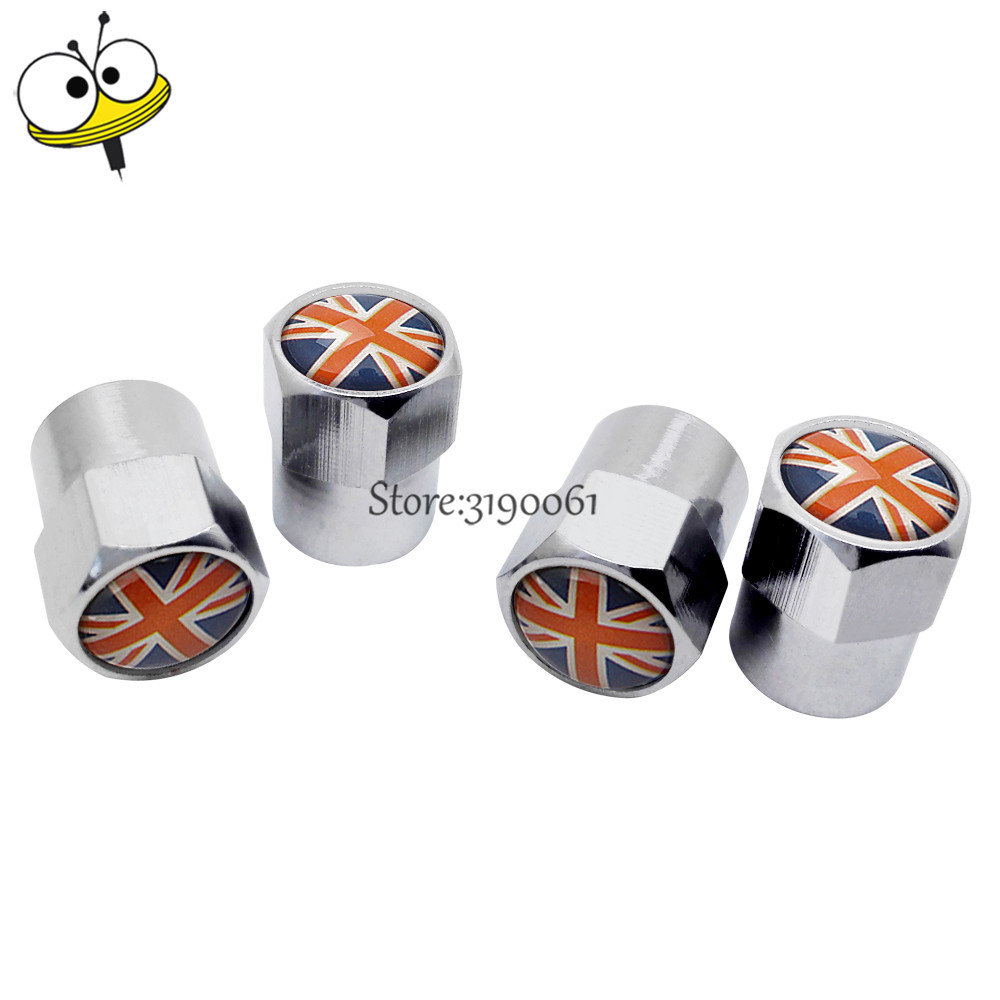 Car Styling Auto Accessories Tire Valve Stem Caps For Union Jack Logo For MINI BMW Jaguar Mazda Renault Skoda Honda Audi Opel MG