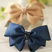 Hair accessories,  ribbon hairclip fashion hair bow with two optional color , Min.Order is $15(mix order)