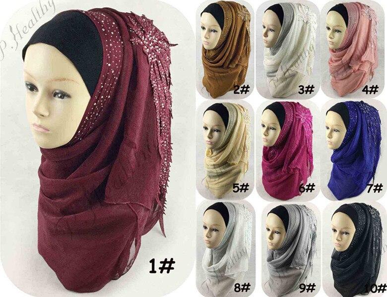 10 Colors Women Wedding Hijab   scarf   solid plain hijabs long shawls ladies muslim islamic maxi tassel   scarves     wraps