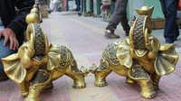 "JP S0608 20 ""Folk Bronce Chino Animales Calabaza Auspicioso Fu YuanBao Elefante Estatua Par (B0413)"
