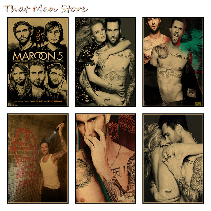 Rock Music Band Maroon 5 Poster Retro Kraft Paper Vintage Poster Wall Poster Adam Levine Wall Sticker 30*21cm