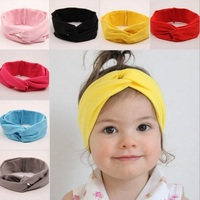 NEW Solid color twist turban cotton bohemian vintage retro childresn kids Elastic headband hair accessory
