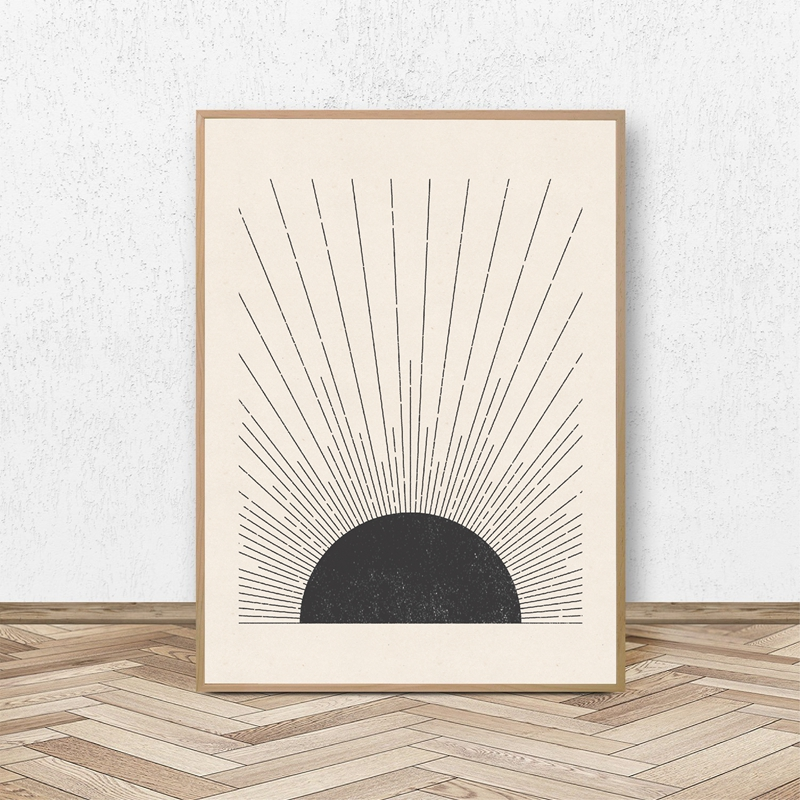 Sun Illustration Mid Century Modern Block Print Neutral Colors Style Poster Canvas Painting Wall Picture Living Room Home Decor(China)