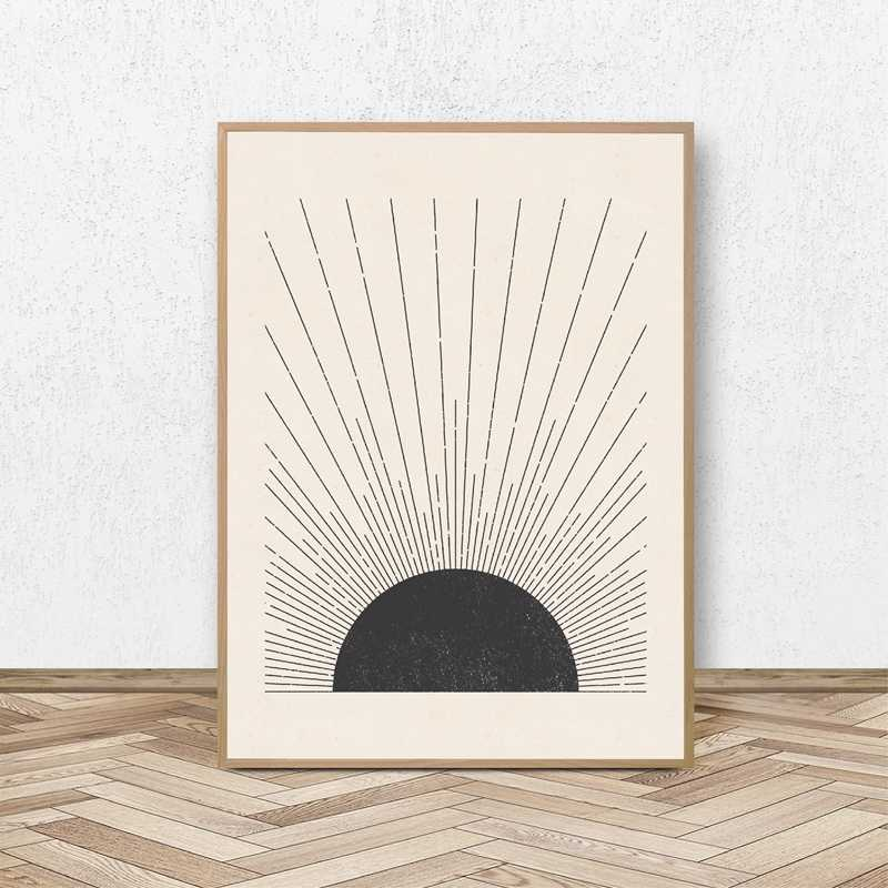 Sun Illustration Mid Century Modern Block Print Neutral Colors Style Poster Canvas Painting Wall Picture Living Room Home Decor