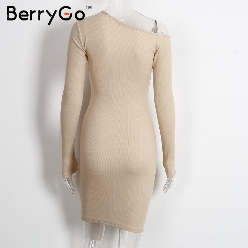 BerryGo Elegant off shoulder bodycon dress Long sleeve short evening party club white dress Women autumn winter black sexy dress 8