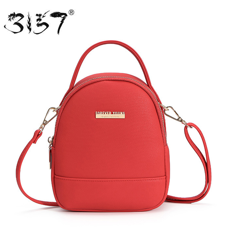3157 Casual Women Leather Backpacks Simple Solid Mini Women Shoulder Bags Headset Hole D ...