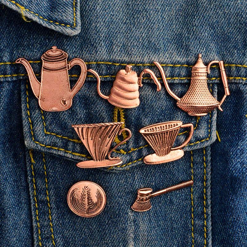 Винтажная эмаль кофейного искусства брошь кофе латте чашка-заварник значок джинсовая одежда сумка нагрудные значки подарок для друзей бариста