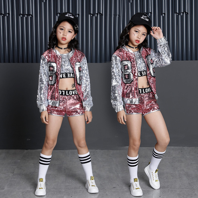 2018 Fashion Children Jazz Dance Clothing Boys Girls Street Dance Hip Hop Dance Costumes Kids Performance Clothes Sets 2 15Years-in Clothing Sets ...