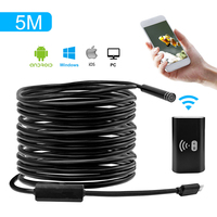 HD720P 8mm Lens WIFI Endoscópio Camera 5 M 3 M 1 M Cobra Industril Borescope Android IOS Tablet Sem Fio Câmera Borescope