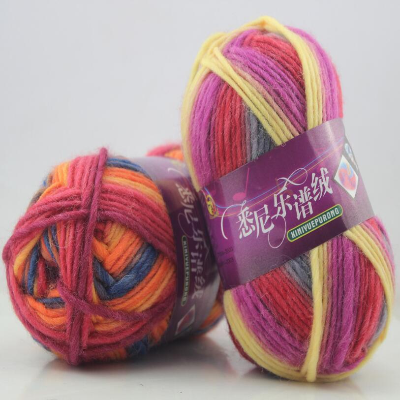 500 g/bolsa/5 unids multicolor Hilado tejer lana bufanda sombrero ...