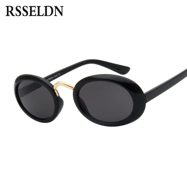74a8dd6c69 RSSELDN Cute Sexy Retro Small Oval Sunglasses Women Brand Design Fashion  Black White 2018 Vintage Sun Glasses Red Female UV400