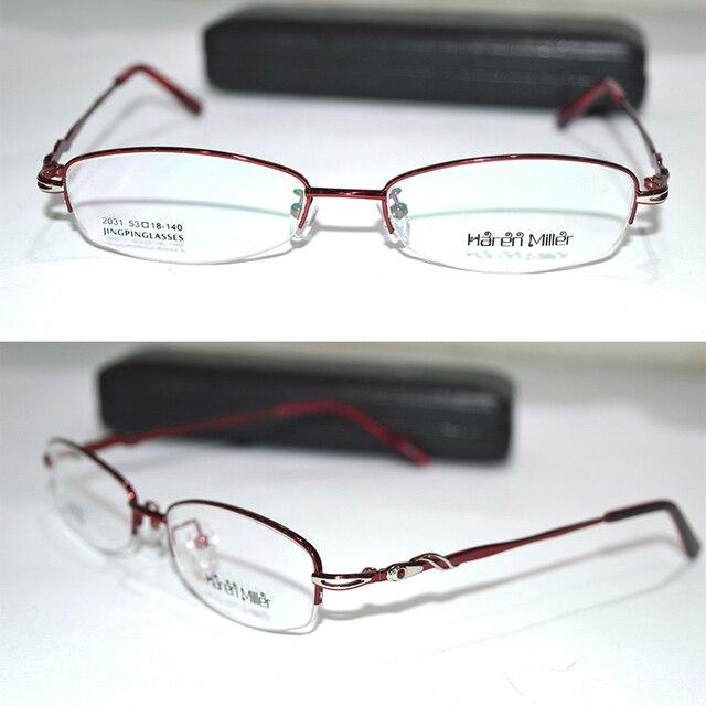 Optical Custom made optical lens Titanium alloy semi-rim deep red Oval frame women Myopia glasses -1 -1.5 -2 -2.5 -3 -3.5 to-6