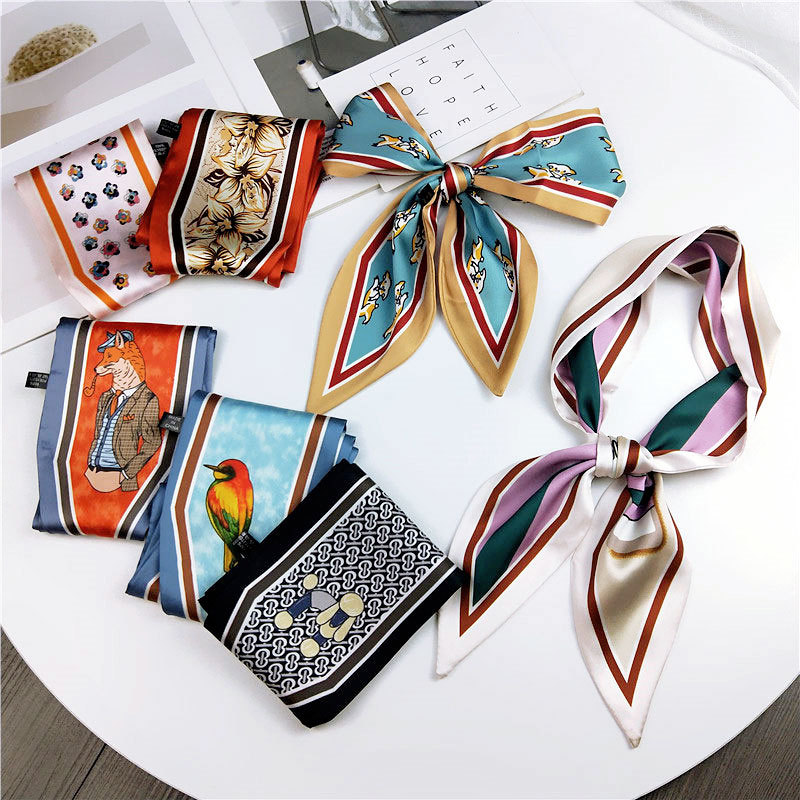 2019 Fashion Hair Scarf For Women Neckerchief Cute Tie Wrist Ribbons Print Silk Satin Bag Scarfs Long Skinny Scarves For Ladies