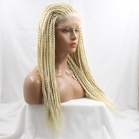 Handmade TWIST Braided wig Synthetic Hair Glueless Lace Front Wigs Blonde Hair Color Long Natural Straight