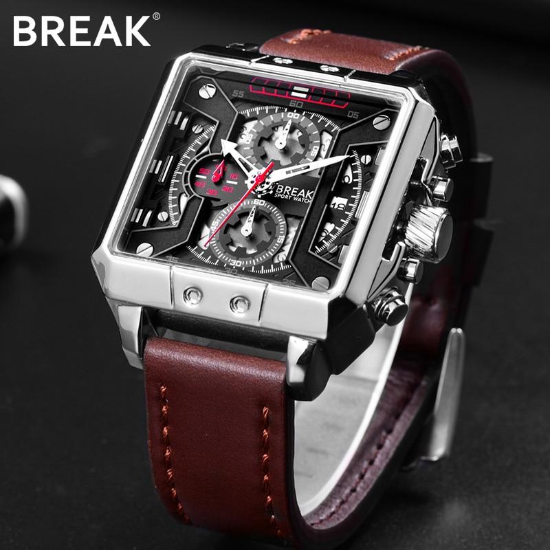BREAK Men Top Luxury Brand Quartz Sport watches Mens Leather Strap Chronograph Gift Wristwatches for Man Relogio Masculino