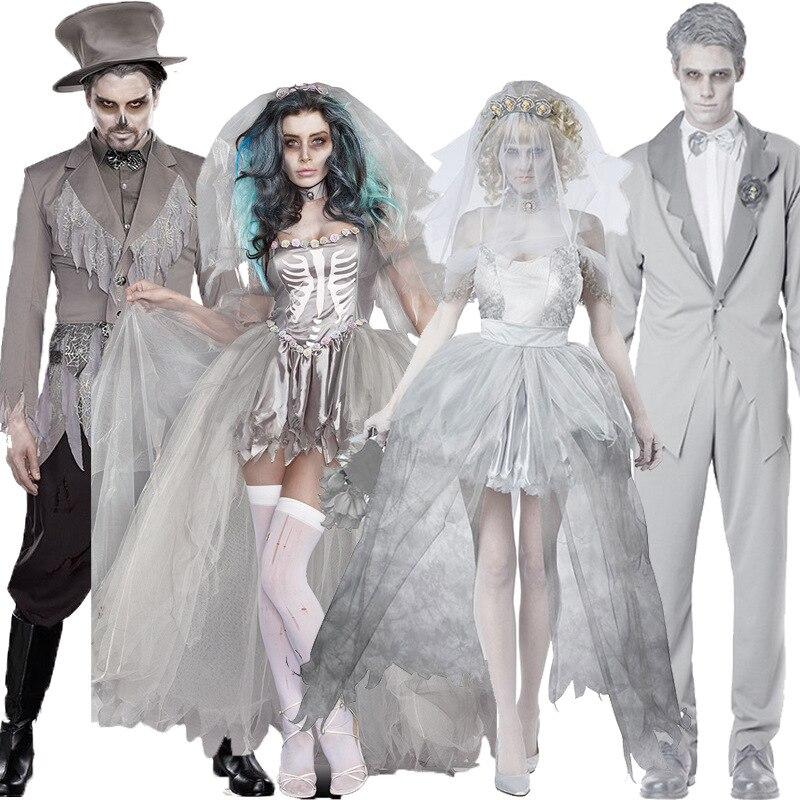Halloween Cosplay Vampire Couple Uniform Dead Beauty Ghost Bride Costume Corpse Bridal Costumes Ghost Dress