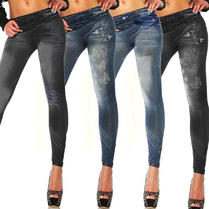 Women Ladies High Waist Slim Skinny Jeans Stretch Pencil Denim Pants Trousers